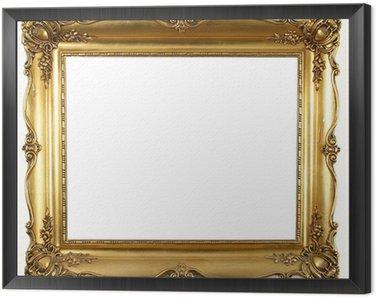 Framed Canvas old antique gold frame over white background