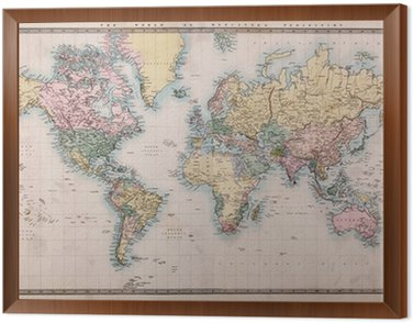 Framed Canvas Old Antique World Map on Mercators Projection