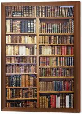 Framed Canvas Old books, library
