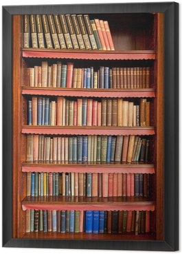 Framed Canvas Old bookshelf with rows of books in ancient library