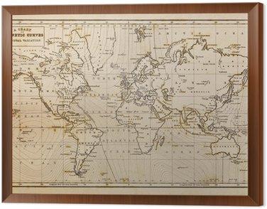 Old hand drawn vintage world map