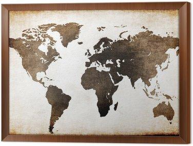 Framed Canvas Old world map