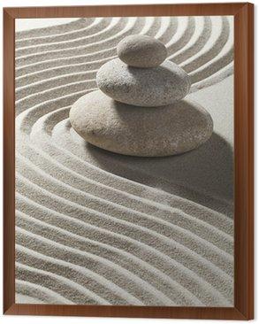 onde zen sur sable et trois galets