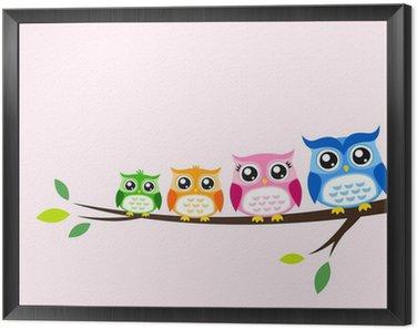 owl family seasonal celebration Framed Canvas