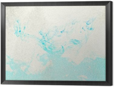 Framed Canvas Painted blue watercolor splashes