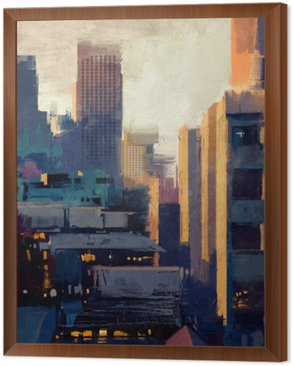 painting of skyscrapers at sunset Framed Canvas