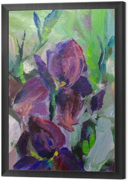Framed Canvas painting still life oil painting texture, irises impressionism a