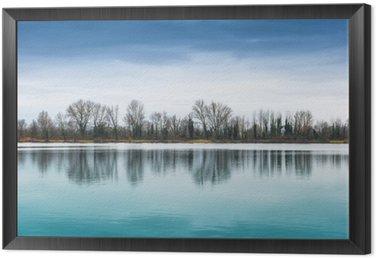 Framed Canvas panorama lacustre