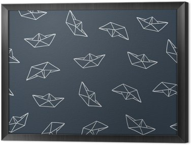 Paper boat seamless pattern Framed Canvas
