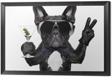 peace cocktail dog Framed Canvas