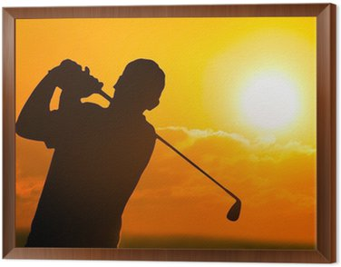 Framed Canvas Photo of a Golfer in Sunset