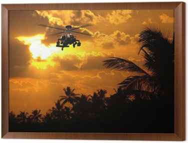 Framed Canvas Photorealistic 3D render of Apache helicopter at sunset.