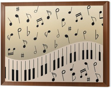 Framed Canvas Piano music notes