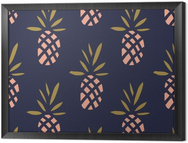 Pineapples on the dark background. Vector seamless pattern with tropical fruit. Framed Canvas