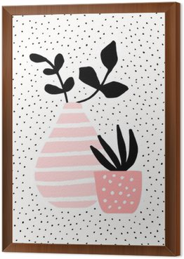 Pink Vase and Pot with Plants Framed Canvas