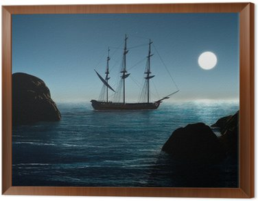 Framed Canvas Pirate ship