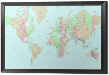 Political World map with time zones