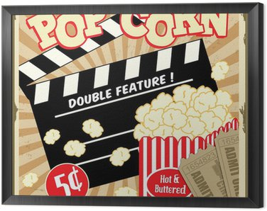 Framed Canvas Popcorn with clapper board and movie tickets vintage poster