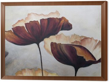 Poppy abstract painting Framed Canvas