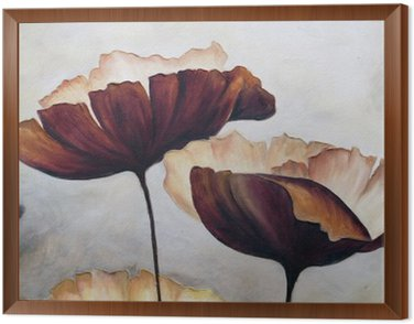 Framed Canvas Poppy abstract painting