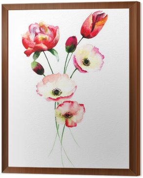 Framed Canvas Poppy and Tulips flowers