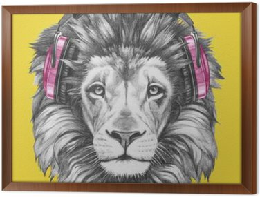 Framed Canvas Portrait of Lion with headphones. Hand drawn illustration.