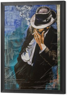 Framed Canvas Portrait of the man with a cigarette