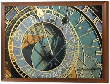 Framed Canvas Prague Astronomical Clock (Orloj) in detail in the Old Town