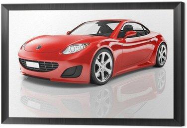 Framed Canvas Red 3D Sport Car