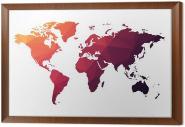 Red geometric world map sticker pixers we live to change red geometric world map framed canvas gumiabroncs Gallery