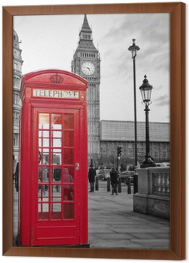 Framed Canvas Red phone booth in London with the Big Ben in black and white