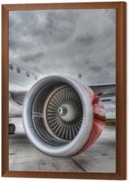 Framed Canvas Red Plane Engine