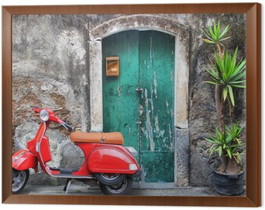 Framed Canvas Red scooter