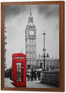 Framed Canvas Red telephone booth and Big Ben in London, England, the UK.