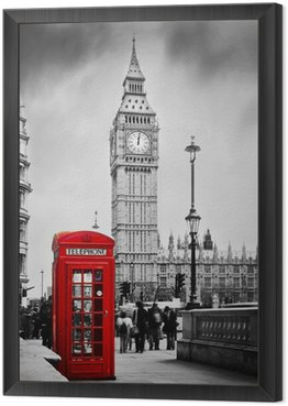 Red telephone booth and Big Ben in London, England, the UK. Framed Canvas