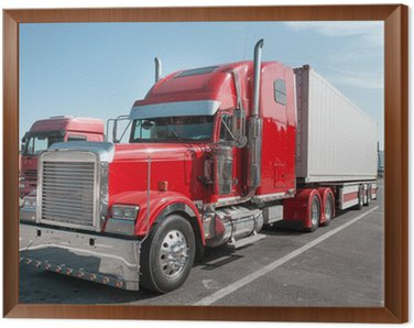 Framed Canvas red US Truck with chrome parts