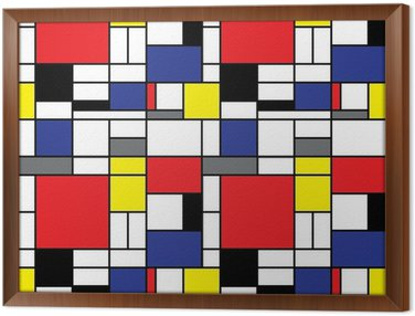 Repeating Mondrian Background Framed Canvas
