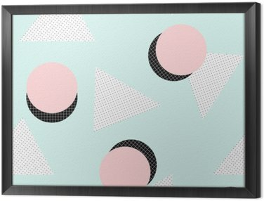 Framed Canvas Retro Geometric Pattern