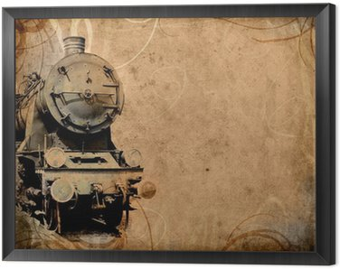 retro vintage technology, old train, grunge background