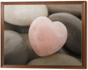 Framed Canvas rose quartz heart