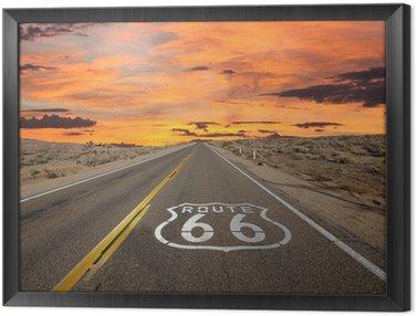 Framed Canvas Route 66 Pavement Sign Sunrise Mojave Desert
