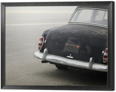 Framed Canvas rusted black automobile from behind
