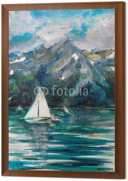 Sailboat on lake watercolor painted.