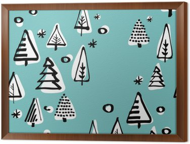 Scandinavian seamless pattern of Christmas tree vector hand-drawing graphics. Framed Canvas
