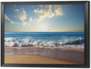 Framed Canvas Sea sunset