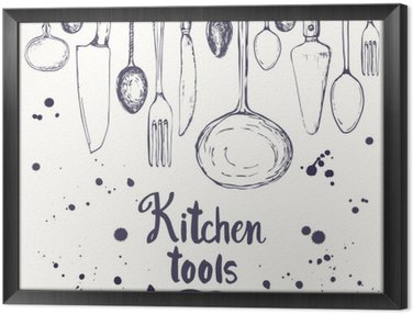 Seamless background with eating utensils. Menu pattern. Framed Canvas