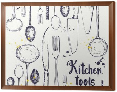 Seamless background with eating utensils. Menu pattern.