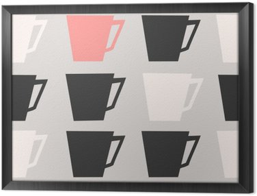Seamless Coffee Cups Pattern Framed Canvas