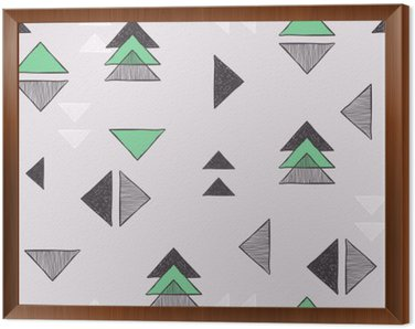 Framed Canvas Seamless hand-drawn triangles pattern.