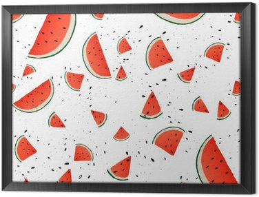 Seamless pattern of watermelon slices. Vector summer background with hand drawn slices of watermelon. Vector. Framed Canvas